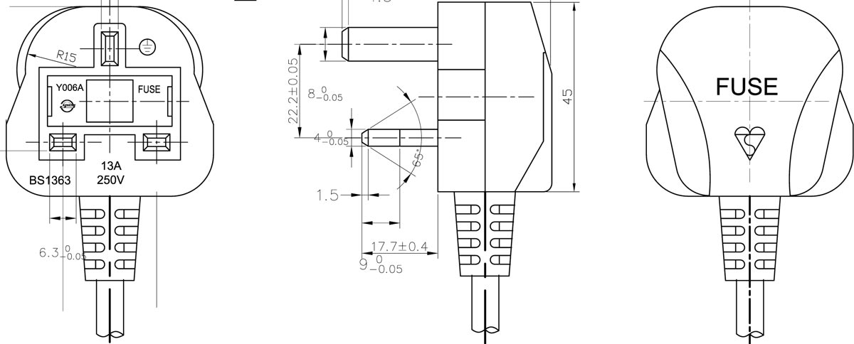 molded fuse plug uk mains lead bs 1363 uk mains lead drawing
