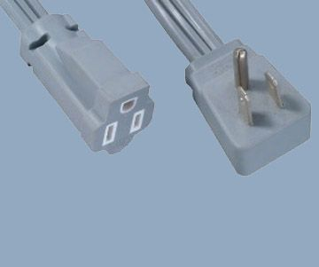 America 3 prong right angle 15A extension power cord