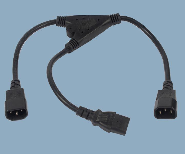 Y Splitter IEC 60320 C14 to IEC C13 Computer Type Power Cord