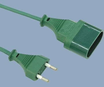 French Extension Cord NF Plug and Socket 2 Prong 2.5A