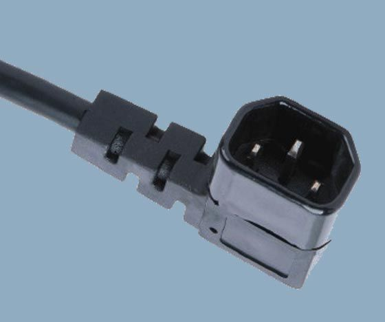Right angle IEC 60320 C14 power cords