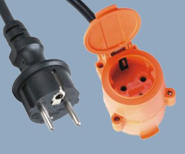 Europe Extension Cord IP44 Schuko Plug to Two Outlet Sockets