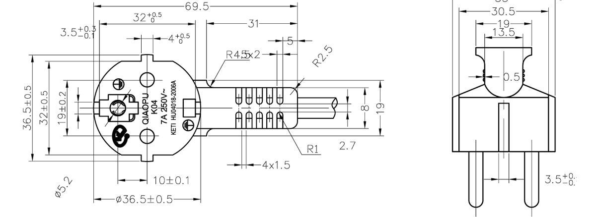 koran ksc 8305 ktl kc cee 7  7 type 16a angle plug power cord