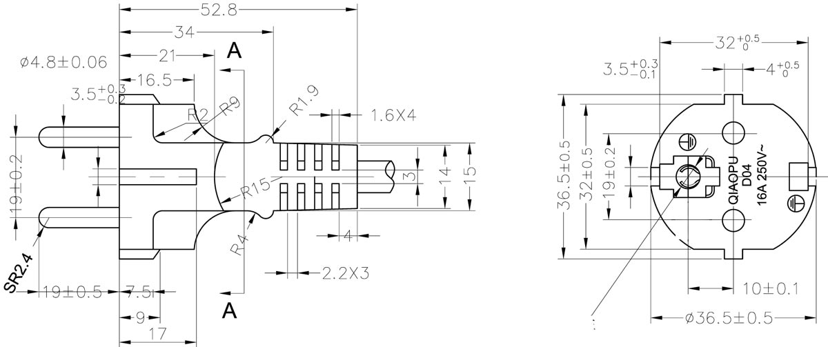 CEE7 7 Straight Europe power cord drawing cee 7 7 staight type plug european power cord european plug wiring diagram at suagrazia.org