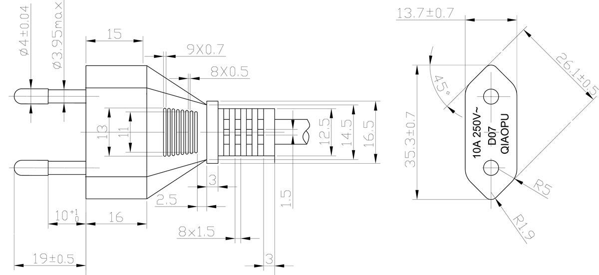 Italy Cei 23 16 2 Pin 10a Imq Plug Power Cord