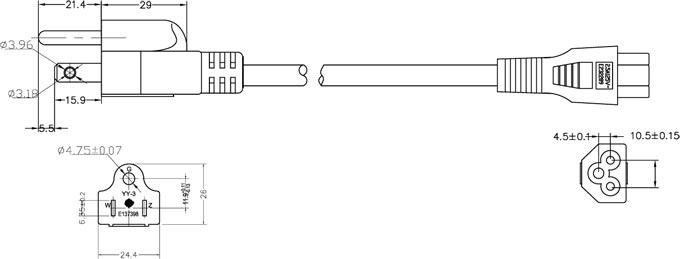 280425 likewise Laptop Power Cord Iec 60320 C5 Nema 5 15p additionally 5001 besides Taiwan Taiwan Plug Details Ningbo Qiaopu Electric Co Ltd 291 further Nema Numbering System. on nema 5 15p drawing