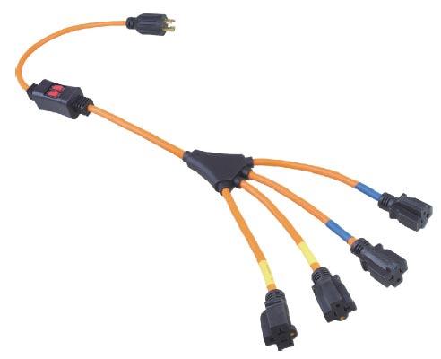 Power Cord Splitter 4 Outlet