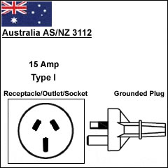 Australia 15A heavy duty power cord plug
