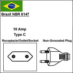 brazil nbr 6147 2 prong power cord