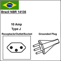 brazil nbr 14136 power cord plug