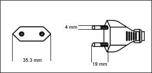 brazilian 2 prong power cord plug drawing