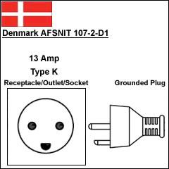 Denmark AFSNIT 107-2-D1 13Amp power cord plug