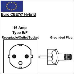 Euro CEE7/7 Hybrid power cord plug