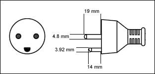 Danish AFSNIT 107-2-D1 - 13 Amp power cord plug drawing