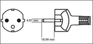 Euro CEE7/7 16 Amp power cord plug