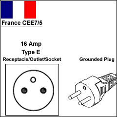 France CEE7/5 16 Amp power cord plug