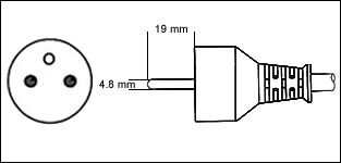 French CEE7/5 16 Amp power plug drawing