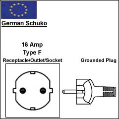 German schuko 16A power cord