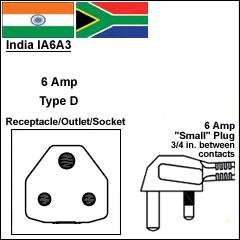 India IA6A3 6 Amp plug