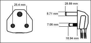 India IA16A3 16 Amp large plug cord