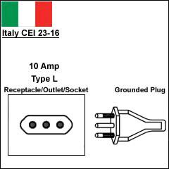 Italy CEI 23-16 10 Amp power cord plug