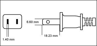 Japanese JIS 8303 7 Amp 2 prong power cord