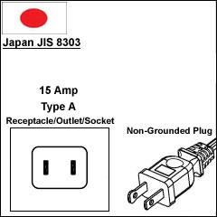Japan JIS 8303 7A power cord plug