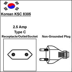 Korea KSC 8305 2.5 Amp type C power cord plug