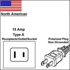 North America 15 Amp 2 prong power cord