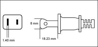 North American NEMA 1-15P polarized 15 Amp power cord