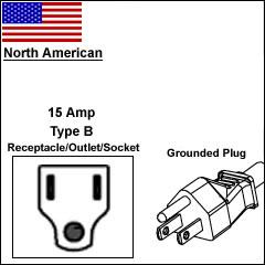 North America 15 Amp 3 pin plug