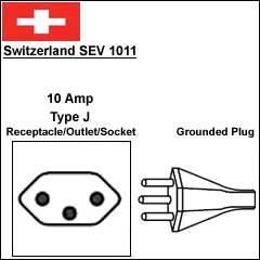 Switzerland SEV 1011 10 Amp 3 prong power cord plug