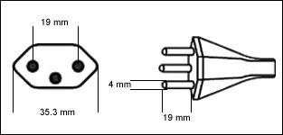 Swiss SEV 1011 10 Amp power cord plug