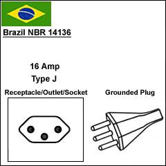 brazil 16A NBR 14136 power cord plug