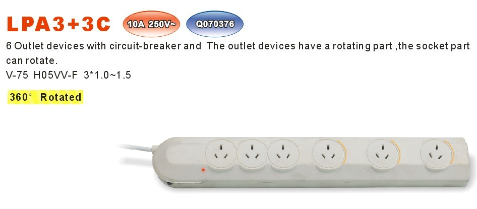 6 Outlet power strip with circuit breaker