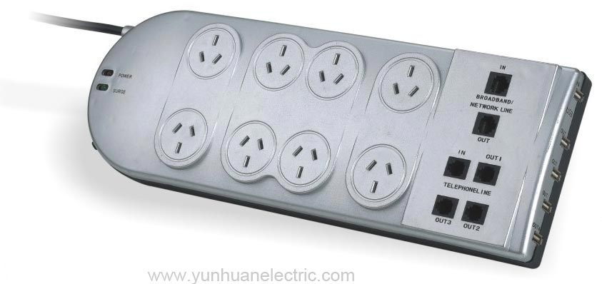 LPA8US 8 Outlet devices with circuit-breaker and surge protector
