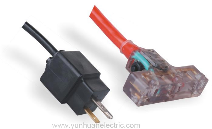 Power Supply Cord 3 Outlet Connector with Indicator Light and Overcurrent Protector LA004CS/LA052L