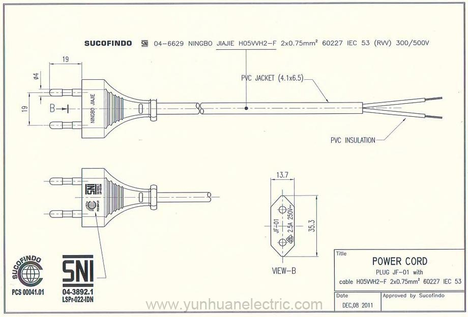 Indonesia Power Cord SNI JF-01 Specification