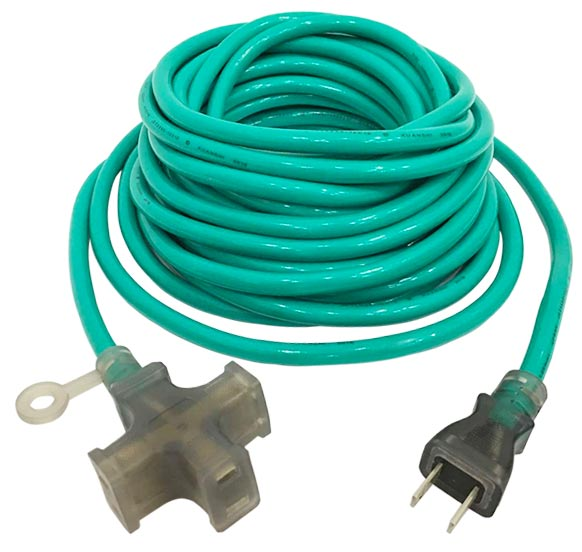 15A 125V 3 Outlet Extension Cord Green JL-7/JL-7B