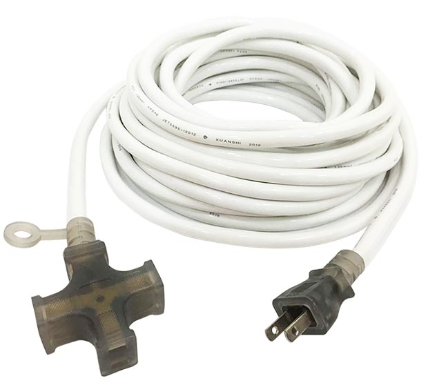 15A 125V 3 Outlet Extension Cord White JL-7/JL-7B