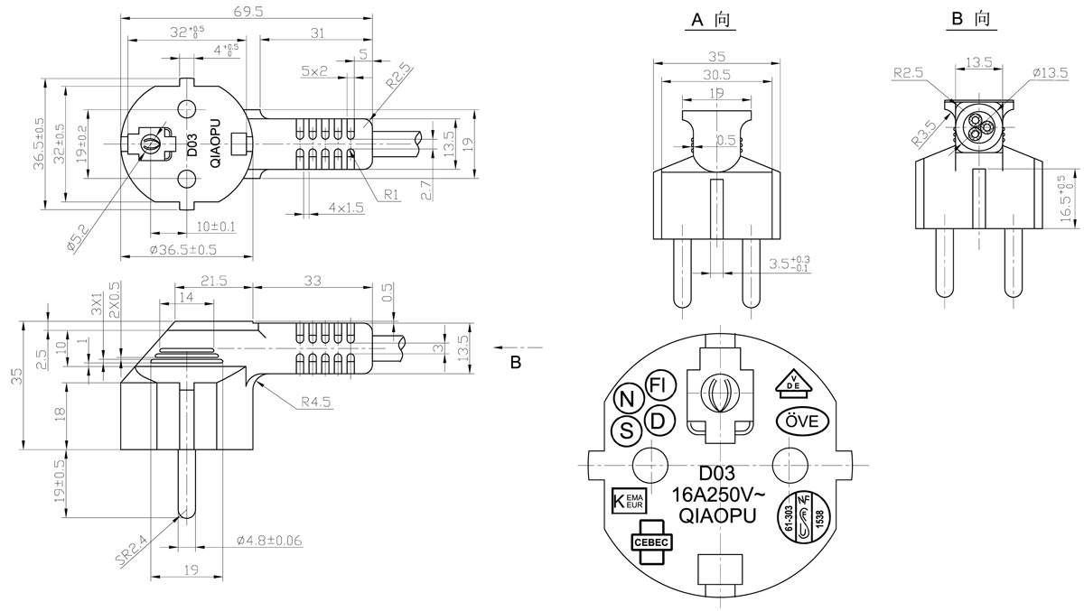 European CEE7/7 Non-rewirable Moulded 2-pole Plug Schuko Power CordYunhuan Electric