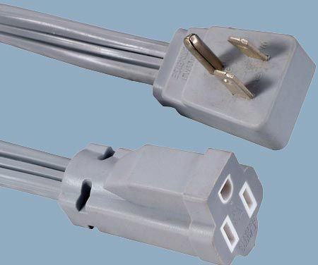 5-15 15A 125V 3 Conductor Angle Plug Extension Power Cord