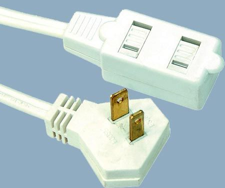 1-15 13A 125V Slender Plug Cube Tap 2 Conductor Extension Cord