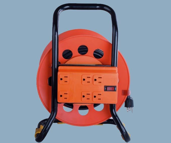 Extension Wire Reel 6 Outlet Strip With Switch