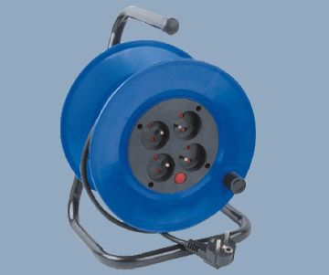 French Type 4 Outlet Extension 4-outlet Cord Reel IP20/IP44 Max 60M