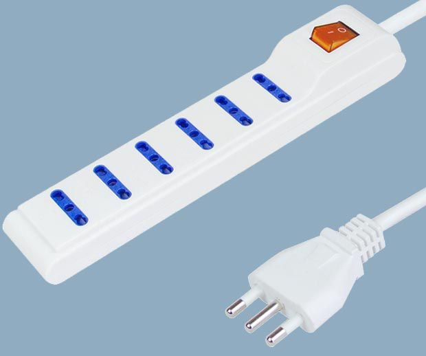Italy Extension Socket 6 Way Power Strip with Switch