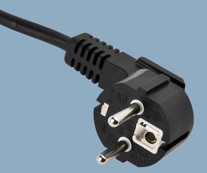 European CEE7/7 Non-rewirable Moulded 2-pole Plug Schuko Power Cord